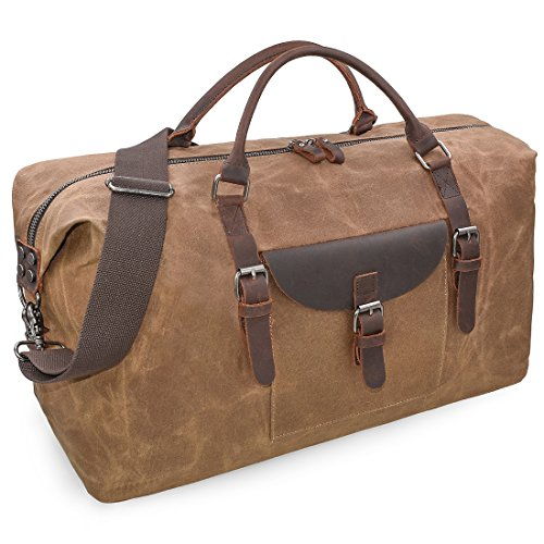 Oversized Travel Duffel Bag Waterproof Canvas Genuine Leather Weekend bag Weekender Overnight Carryon Hand Bag Brown ()