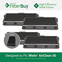 4 - Miele Active AirClean 50 HEPA Filters, Part # AAC50 & SF-AA50. Designed by FilterBuy to fit Miele S4 and S5 Series Canister Vacuum Cleaners