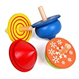 Novelty House Kids Toddlers Educational Toys Wood Handmade Spinning Top Colour Gyro 4 Sets Learning Toys for Boys Girls 1 2 3 4 Year Olds