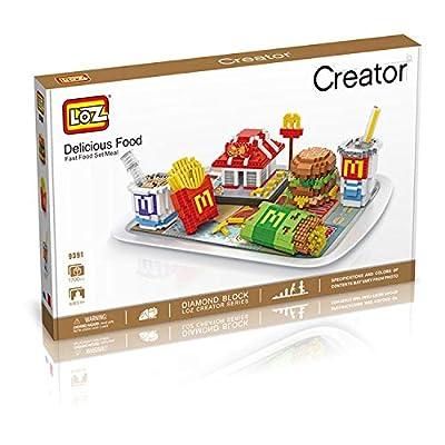 LOZ McDonald's Food Set Shop NO.9394 Mini Construction Building Micro Blocks Compatible Nano Chistmas Bithday Gifts for Kids DIY Figures Assemble Educational Toys Model Kits: Toys & Games
