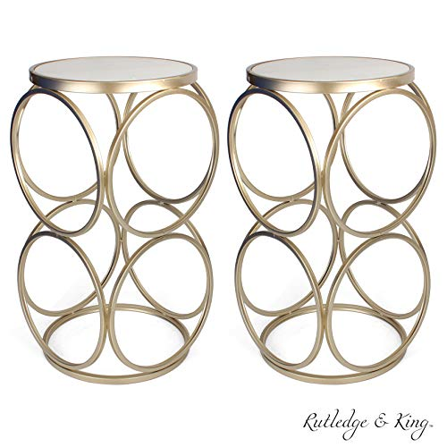 Round End Table - Gold End Table with Marble Top - Round Accent Table - Gold and Marble Metal Side Table - Rutledge & King Britton End Table (Marble/Gold) 2 Pack