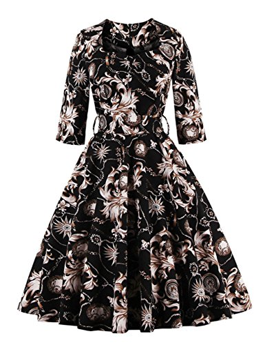 Leadingstar Women's Square Neck Waist Vintage Print Rockabilly Swing Dress White Flower Black Size 2XL - Vintage Square Dance Dress