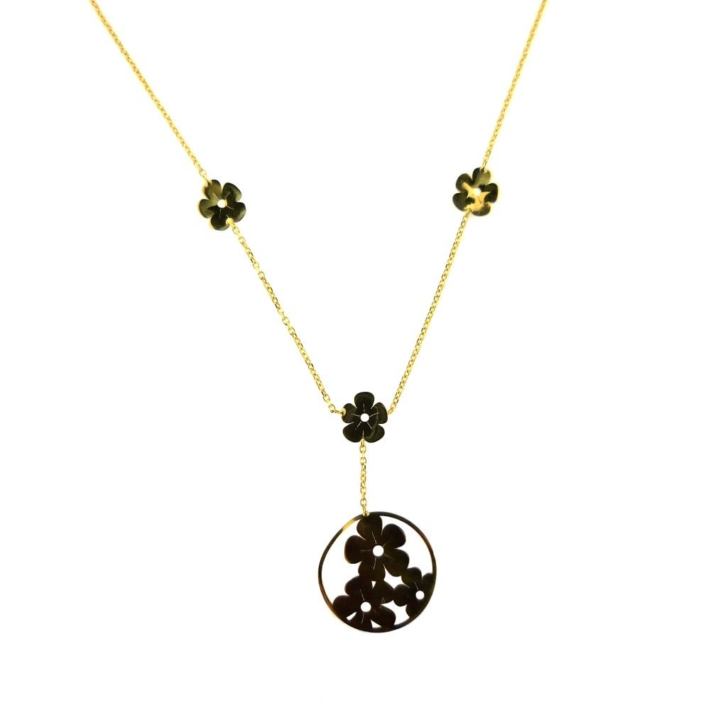 18KT Yellow Gold Large Circle with Flowers inside Neckacle 16 inches