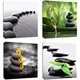 "4Pcs 12x12 Canvas Wood Stretched Zen Stone Garden Rocks Spa Bamboo Fountain Japan Yoga Theme Pink Frame Landscape Abstract Modern Art for Home Room Office Wall Print Decor 12x12"" inch (30x30cm"