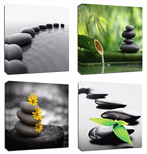 - 4Pcs 12x12 Canvas Wood Stretched Zen Stone Garden Rocks Spa Bamboo Fountain Japan Yoga Theme Pink Frame Landscape Abstract Modern Art For Home Room Office Wall Print Decor 12x12