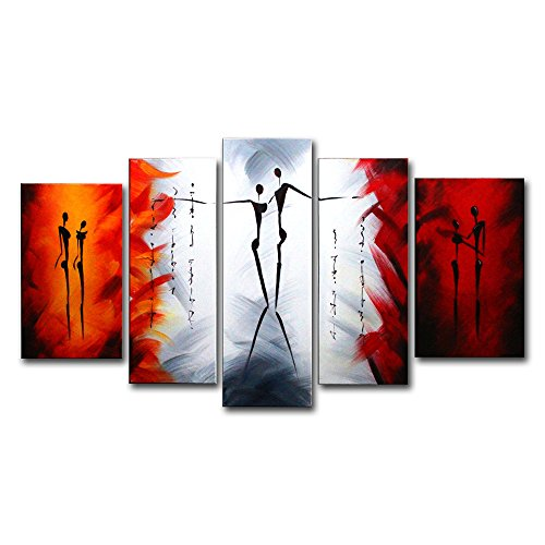 FLY SPRAY 5-Piece 100% Hand-Painted Oil Paintings Panels Stretched Framed Ready Hang Dancer Lover Couple Modern Abstract Canvas Living Room Bedroom Office Wall Art Home Decoration