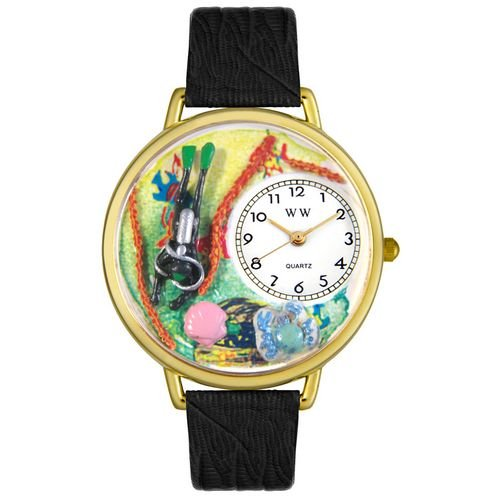 Whimsical Watches Unisex G0810016 Scuba Diving Black Skin Leather Watch by Whimsical Watches