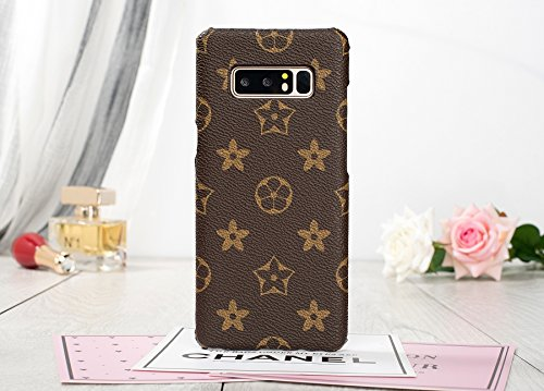 HeiL NOTE8 TPU (Fast US Deliver Guarantee Fulfilled by Amazon) New Elegant Luxury PU Leather Monogram Pattern Classic Style Cover Case for Samsung Galaxy Note 8 ONLY (Brown Monogram)