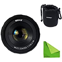 Meike MK-4/3-35-1.7 + Lens Bag, 35mm f 1.7 Large Aperture Manual Focus lens APS-C For 4/3 systems Mirrorless cameras Olympus Em1 Panasonic GF5/6/7 With EACHSHOT Lens Cleaning Cloth