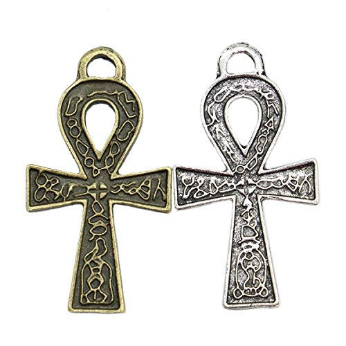 - Monrocco 40pcs Egyptian Ankh Cross Charm Pendant Bulk for Jewelry Crafting Bracelet and Necklace Making