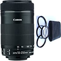 Canon 55-250mm IS STM Lens + 4pc Macro Lenses Set (+1 +2 +4 +10)