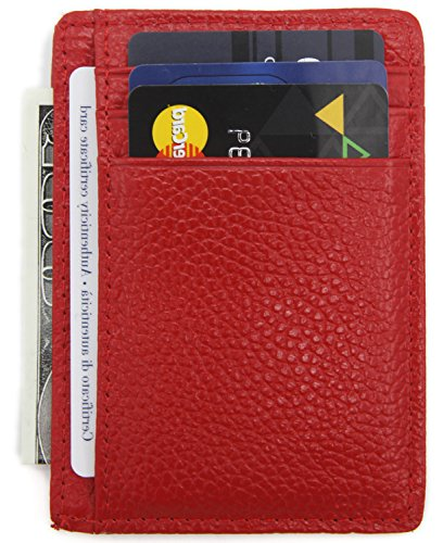 - DEEZOMO RFID Blocking Genuine Leather Credit Card Holder Front Pocket Wallet With ID Card Window - Red
