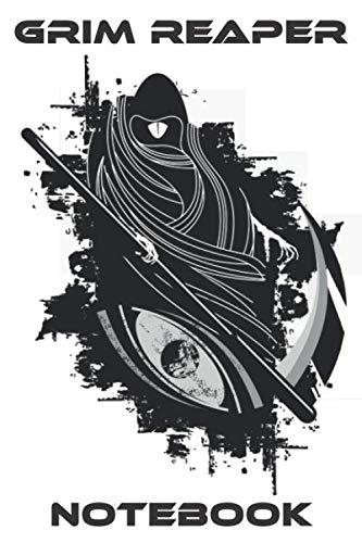 Grim Reaper Notebook - Scythe - White - Black - College Ruled (Death)