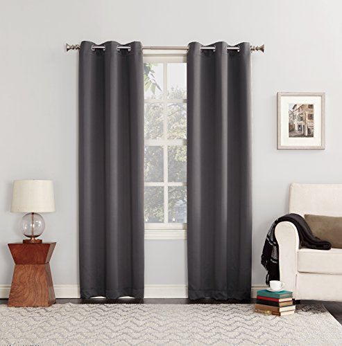 "Sun Zero Easton Blackout Energy Efficient Grommet Curtain Panel, 40"" x 84"", Charcoal Gray"