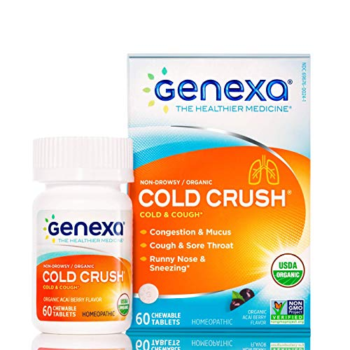 Genexa Cold Crush  60 Tablets | Certified Organic amp NonGMO Physician Formulated Homeopathic | Cough amp Cold Medicine