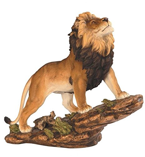 StealStreet SS-G-54254, Prideful Savannah Lion on Brown Rock Wildlife Decoration Statue
