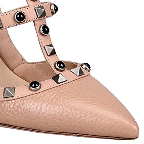 Chris-t Spiss Tå Piggdekk Strappy Slingback Høy Hæl Lær Pumper Stilettos Sandaler Nude Pearl