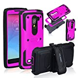 Anyshock Heavy Duty Shockproof Durable Full Body Protection Rigged Hybrid Case with belt clip holster and Kickstand for LG G Stylo 2/G Stylus 2/LS775( Free Screen Protector Included ) (Hot-Pink)