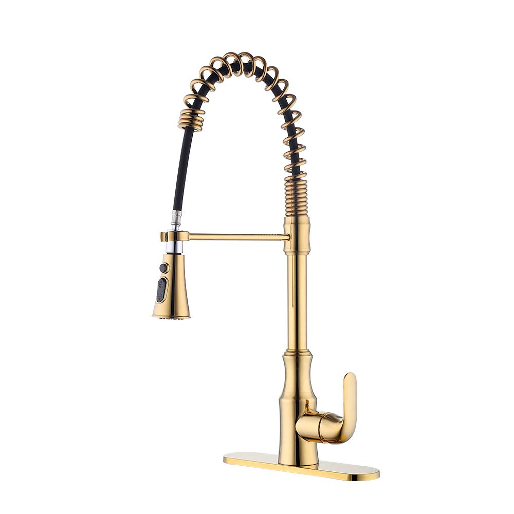 KES cUPC NSF Certified BRASS Singel Handle Pull Down Kitchen Faucet with Retractable Pull Out Wand, High Arc Swivel Spout, Titanium Gold, L6936BLF-PG by Kes (Image #1)