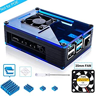 Miuzei Case for Raspberry Pi 4 with Large Fan and 4 × Aluminum Heat Sinks for Raspberry Pi 4 Model B(Pi 4 Board Not Included)-Black/Blue