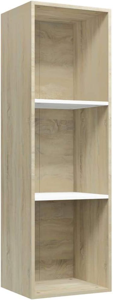 vidaXL Estantería Librería Convertible Mueble TV Estante Libros Vertical 3 Niveles Cubos Módulo Televisión Televisor Aglomerado Blanco Color Roble ...