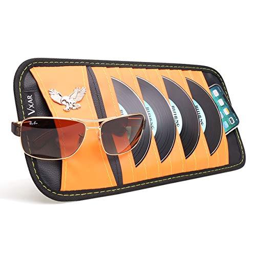 VXAR CD DVD Sun Visor Organizer Holder Car Detachable PU Auto Multi-Purpose Bag Sunglasses Eagle Badge Vehicle-Mounted 10 Pockets-Orange ()