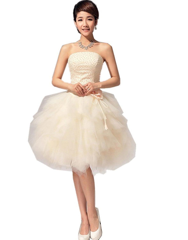 Shanghai Story Pearl Strapless Bridesmaid Ball Gown Short Evening Dress