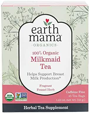 Earth Mama Organic Milkmaid Tea Bags for Breastfeeding Mothers, 16-Count (6-Pack)