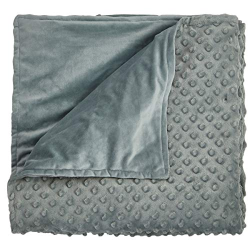 Hug Bud Outer Blanket Cover Only – Queen 60 x 80 - Sensory Minky Dot Duvet Case - Fastener Loops Weighted Blankets - Stone Grey