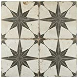 "SomerTile FPESTRN Reyes Astre Ceramic Floor and Wall Tile, 17.625"" x 17.625"", Nero"