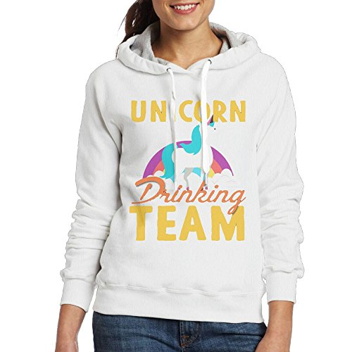 Price comparison product image Grhoodie1 Unicorn Drinking Team Women's Long Sleeve Pullover Hooded Sweatshirt White Size XL