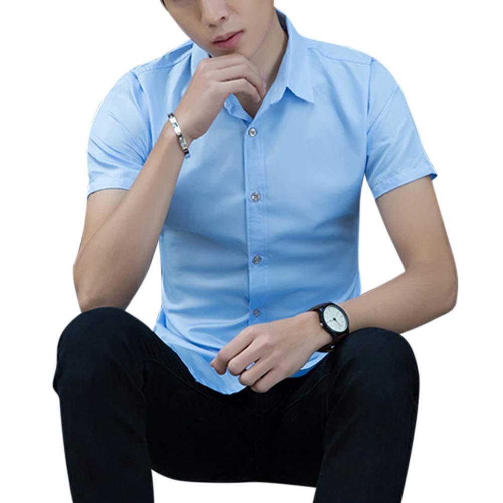 DSstyles Men Fashion Short-Sleeved Shirts No Ironing Business Attire Slim Tops