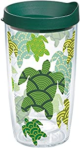 Tervis 1154234 Turtle Pattern Insulated Tumbler with Wrap and Hunter Green Lid, 16oz, Clear