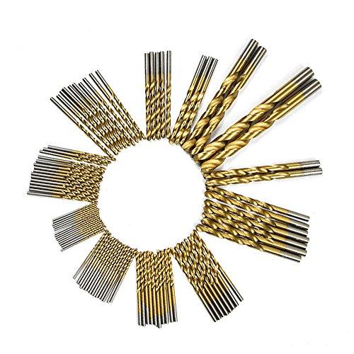 - DRILLFORCE, 99PCS,HSS Titanium Coated Twist Drill Bits Set,1/16
