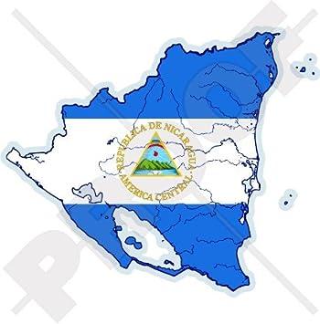 "NICARAGUA Nicaragüense Mapa-Bandera Centroamérica 4.2"" (106mm) Pegatina de Vinilo Adhesivo,"
