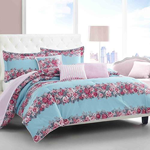 Betsey Johnson Banded Floral Comforter Set, King, Turquoise