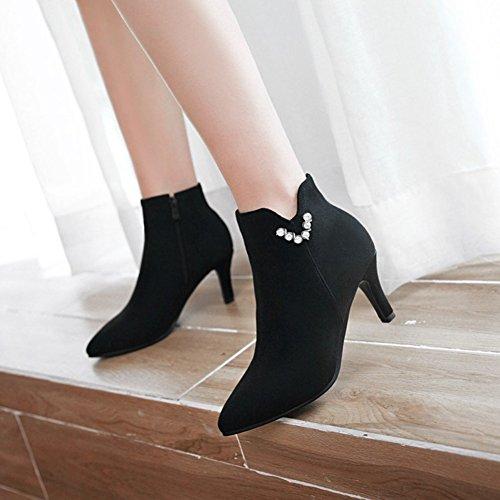 Aisun Damen Elegant Spitz Zehen Strass Kitten Heel Kurzschaft Stiefel mit Reißverschluss Schwarz
