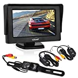 """Backup Camera - Wireless Car Rearview License Plate Camera Waterproof Night Vision Backup Camera with 4.3"""" LCD Monitor and Wireless Transmitter & Receiver"""
