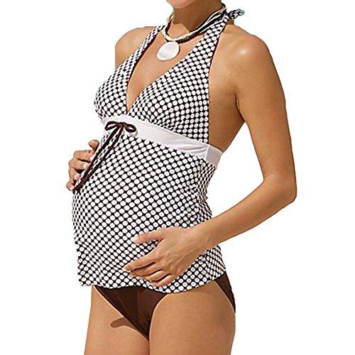 Tankini Costume Bagno Vintage Gagacity Ruched Dots Halter Collo Due Premaman da Costumi Bagno Donne da Bikini Pezzi wgwPxqSIU