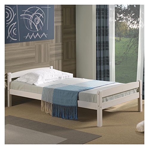 Einzelbett Kinderbett Gästebett Bett FELIX, 90x190 cm, weiß lackiert