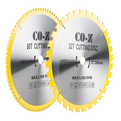 CO-Z 12 2pcs Crosscutting Table Circular Saw Blades, 60-Tooth and 32-Tooth TCT ATB Miter Saw Combo Blade Set for Wood Aluminum Plywood Cutting, YG8 Tungsten Carbide