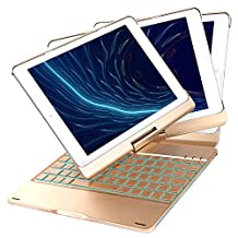 New iPad 2018 Keyboard Case, iEGrow F180 7 Colors Adjustment Backlit and Breathing Light Keyboard with 360 Degree Rotatable Cover for iPad 6th Generation/ iPad 5th Generation/Pro 9.7/Air 2/Air (Gold)