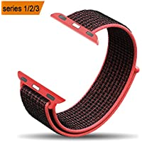 amBand Apple Watch Sport Loop Band 38mm 42mm, Lightweight Breathable Nylon Replacement Band for Apple Watch Nike+, Series 1, Series 2, Series 3, Sport, Edition