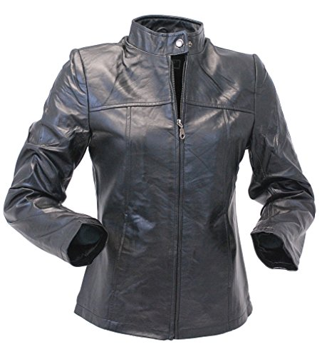 Jamin' Leather Lambskin Leather Scooter Jacket for Women (M) #L602K