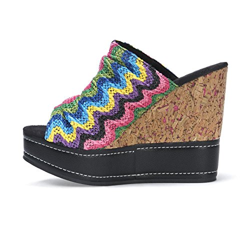 MUK LUKS Womens Peyton Wedge Sandals Multi JQtcvAU