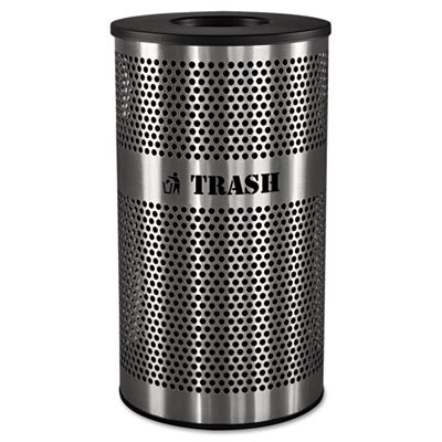 Ex-Cell Kaiser VCT-33 PERF SS Venue Collection Outdoor Perforated Stainless Steel Trash Receptacle, 33 Gallon Capacity, 21