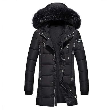 FEN&Fanxut Men Winter Jacket White Duck Down Wadded Coat Thick Parkas Warm Fur Collar Hooded Snow