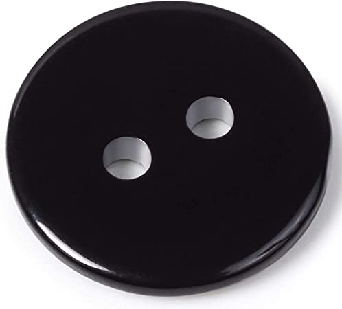 Black Round Button 0,5 inches Sewing Black Plastic Buttons 22L 2-Hole Button Pack of 20