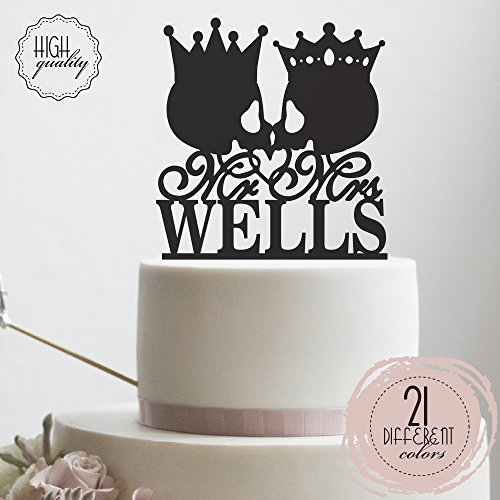 (Mr Mrs Skull King Queen Crown Personalized Wedding Cake Topper Customized Last Name Halloween Wedding | Solid Color Cake Toppers)
