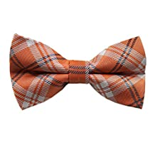 Orange Plaid Bow Ties Set (Pre-Tied) - Cufflinks + Hanky (Bow Tie ONLY)